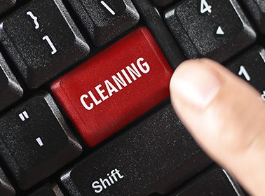 cleaning word on red keyboard button