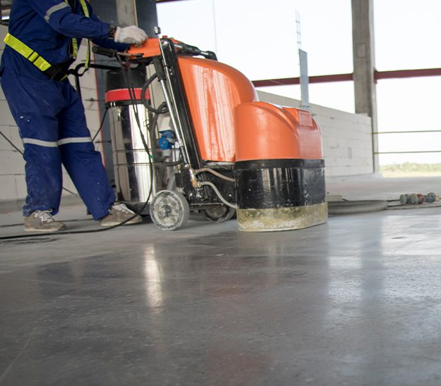 Selective focus on epoxy floor in warehouse factory japan construction site